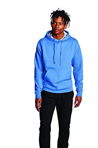 Champion Men's Powerblend Fleece Hoodie, C Logo, Swiss Blue, Small