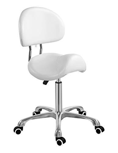 Silla de silla de montar con respaldo ergonómico asiento de esteticista para salón tatuaje tienda spa hogar dentista clínica (con respaldo, blanco)