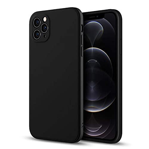 Funda de silicona azul para iPhone 12 Pro (2020) de 6.1 pulgadas, tacto suave sedoso funda protectora de cuerpo completo, cubierta a prueba de golpes con forro de microfibra (negro)