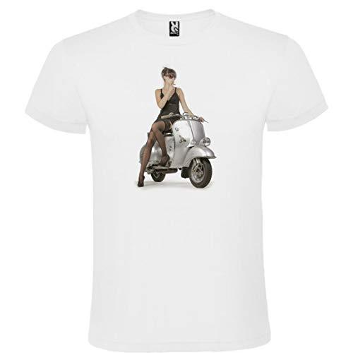 Camiseta Roly Blanca con Moto Vespa Hombre 100% Algodón Tallas S M L XL XXL Mangas Cortas (M)