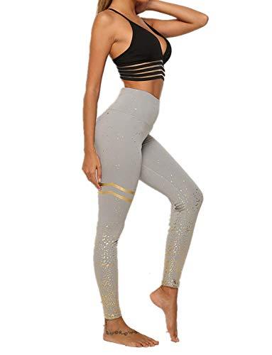 DEEWISH Hosen Damen, Frauen Leggings Hose Yogahose Sport-Leggings Jogginghose | Sport Fitness Workout Leggins | Stretch Yoga Hosen Pants | Sporthose, Grau Gold, S