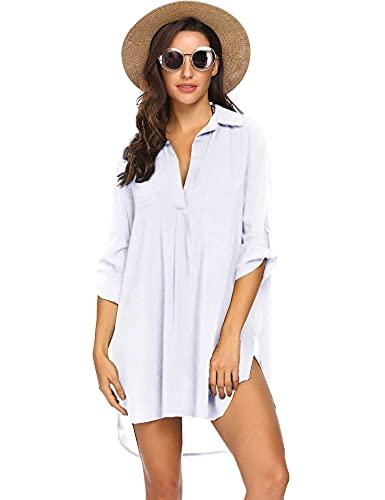 UNibelle Damen Strandkleid Hemdkleid Bikini Strandponcho Sommer Kaftan Strandkleid Bikini Cover Up Shirts