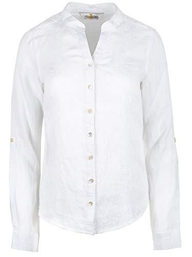 Almsach Trachtenbluse Franzi weiß | Hemdbluse aus Leinen | Bluse Damen Damenbluse Leinenbluse Trachten (44)
