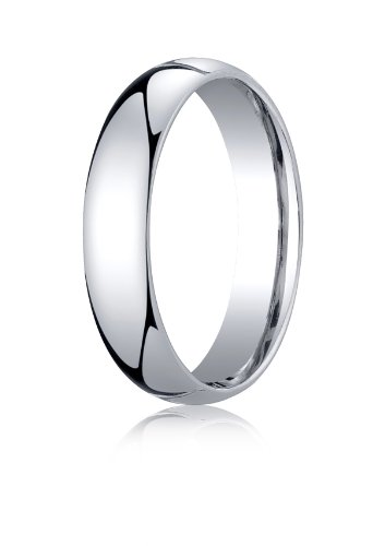 Men's Palladium 5mm Slightly Domed Standard Comfort Fit Wedding Band Ring, Size 7