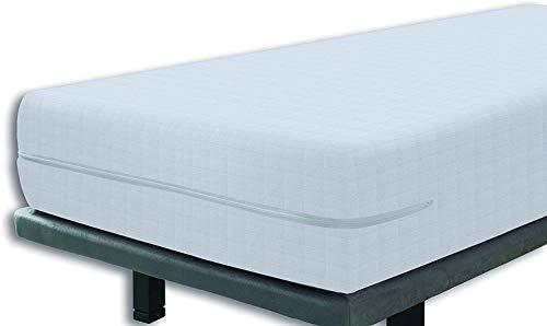 Tural – Funda de colchón elástica con Cremallera y Tejido con diseño damero. Rizo 100% Algodón. Talla 105x190/200