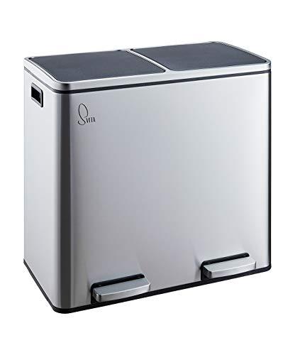 SVITA TM2X24 Treteimer Edelstahl 48 Liter (2x24L) Abfalleimer Mülleimer Design Mülltrennung Silber Papierkorb