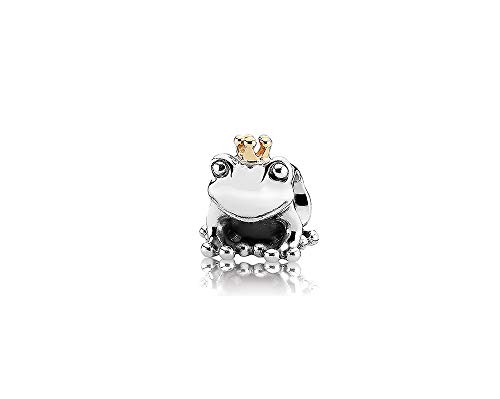 MiniJewelry Frog Prince Charm for Bracelets King Gold Crown Sterling Silver Charm for Girls Women Son Boys Daughter Birthday Gift