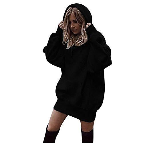 MIAOJIE Women's Solid Color Hoodies Sweatshirt Pullovers Ladies Long Sleeve Plain Hooded Jumper Dresses Hoodies Long Tops with Pocket Oversize,black,L