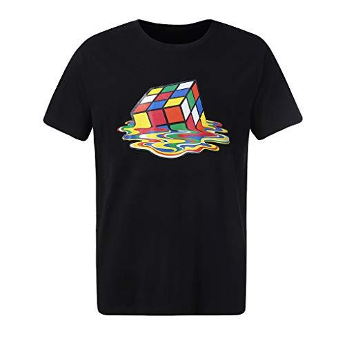 Sylar Camiseta de Manga Corta para Hombre Moda 3D Digital impresión Cubo de Rubik T-Shirt Cuello Redondo Originales Camiseta Verano Hombre Camisa tee Tops M
