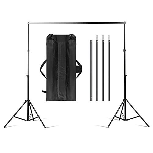 Hintergrund Unterstützungssystem 2x3m Verstellbarer Fotostudio Hintergrund Ständer Backdrop Stand Fotohintergrund Stativ Hintergrundsystem mit Tragetasche für Studio...