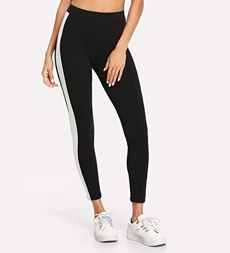 Shocknshop Black Ankle-Length Skinny Bottoms Women Mid Waist Casual Leggings for Women & Girls (Free Size, White Contrast Side Seam)