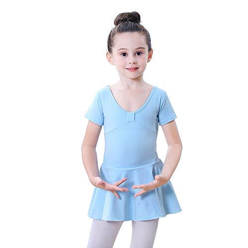 Soudittur Kinder Ballettkleid Kurzarm Ballett Trikot Ballettanzug mit Kleider Mädchen Ballettkleidung Tanzkleid Tanzbody Baumwolle in Hellblau