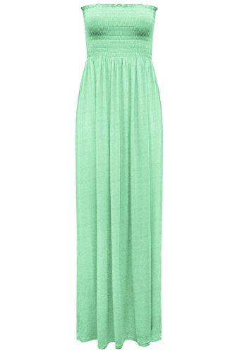 Fashion Star Damen Trägerloses Maxi-Kleid Damen Hauchdünnes Boobtube Bandeau Lang Übergröße 8-24 - Apfelgrün, 38