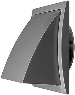 Durchmesser 100mm Grau Ablufthaube Lüftung mit Rückstauklappe Kunststoff, Lüftungshaube 150x150mm mit Anschluss Durchmesser 100mm