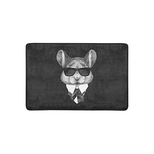 LVOE TTL Mode Maus in Anzug mit Sonnenbrille Hipster Tier Fußmatte Anti-Rutsch-Eingangsmatte Boden Teppich Indoor/Outdoor/Haustür Matte, 23,6 X 15,8 Zoll