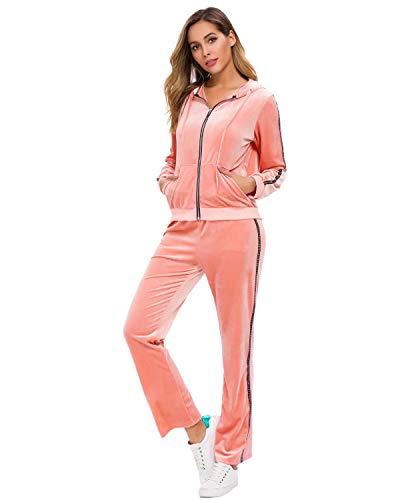 Fantasy Closet Frauen Damen Mode Trainingsanzug Streifen Zweiteilige Jogginganzug Lange Ärmel Zipper Top Lange Hose(B Rosa2_Bling Strasssteine, XL)