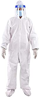 BUkkL PPE Safety Kit for Full Body Protection- Non-Suffocating+Comfortable For Travelling- 95 GSM- Polyproplyene material White (1 Pc)