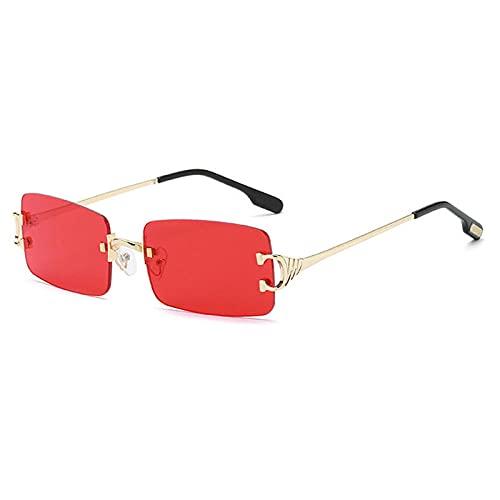 WQZYY&ASDCD Gafas de Sol Gafas De Sol Sin Montura para Mujer, Vintage, para Hombre, para Mujer, para Conducir, Gafas De Sol para Hombre, Rojo