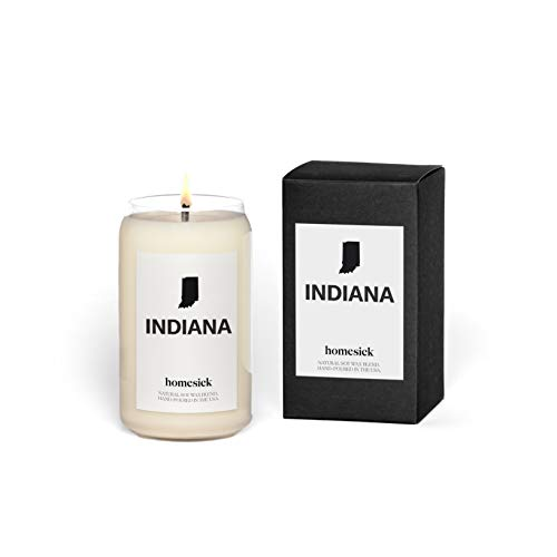 Homesick Scented Candle, Indiana - Scents of Magnolia, Cotton, Rose, 13.75 oz