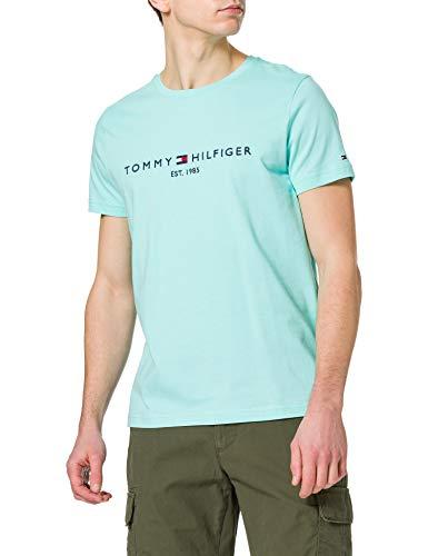 Tommy Hilfiger Tommy Logo tee Camiseta, Miami Aqua, L para Hombre