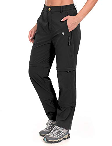 Little Donkey Andy Women's Stretch Convertible Pants, Zip-Off Quick-Dry Hiking Pants Black Size M