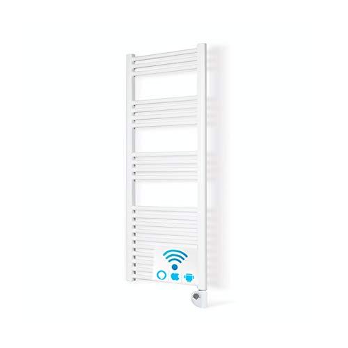 Radiador Toallero Electrico IBIZA Blanco 750W · Termostato Digital · (1200 x 500 mm) · El Primer Toallero Bajo Consumo Wi-Fi, Compatible con iOS y Android · Amazon Alexa y Google Home