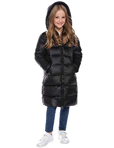 Hawiton Daunenjacke für Kinder kälteschutz Wasserabweisend Daunenmantel Lang Kälteschutz Warm Verdickte Outerwear mit Kapuzen Mäntel für Mädchen