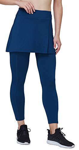 Westkun Damen Leggings mit Rock Winter Knöchelläng Laufhose Seitenschlitz Tennisrock mit Fleece Yoga Sport Soft Stoffdruck 2-in-1, Marine, XL/EU46-48/Taillen:87-93CM