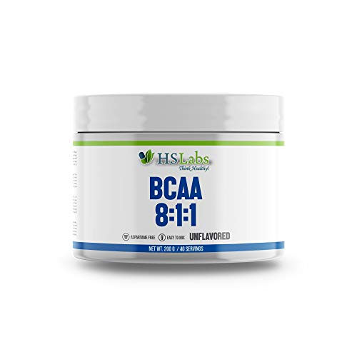 HSLabs BCAA 8 1 1 Powder Amino Drink|Amino Acids Complex High Dose Drink with Leucine Isoleucine Valine Muscle Regeneration Great Taste and Neutral Unflavoured 400g 200g 40 80 Servings