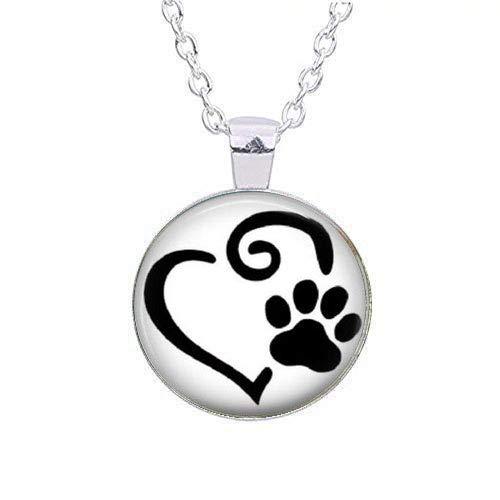 Schwarze Pfote und Herz-Anhänger, Hundepfoten, Katzenpfoten, Tierpfoten, Tierliebhaber, Hundeliebhaber, Katzenliebhaber, Geschenk-Schlüsselanhänger