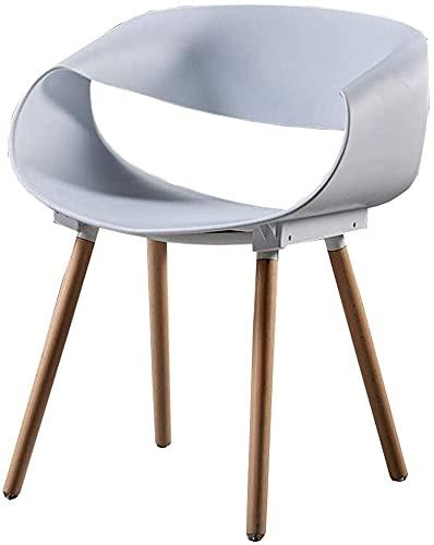 VEESYV Küche Esszimmerstühle Moderne Freizeit Kunststoff Stuhl Holzbeine Rückenlehne Stuhl (Farbe : White)