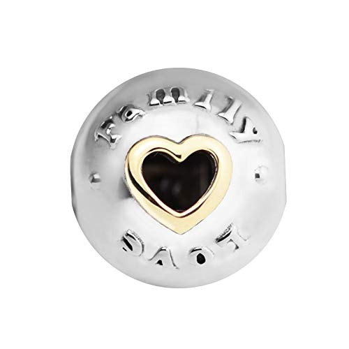 Pandora 925 Jewelry Bracelet Natural Fits Family Love Clips Silver Beads With K Real Gold Heart Sterling Silver Charms Women Diy Gift