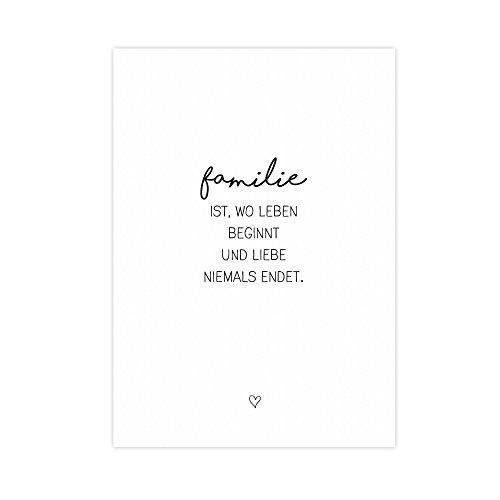 W&erpixel® Kunstdruck Familie - auf w&erbarem Hahnemühle Papier DIN A4 -ohne Rahmen- schwarz-weißer FineArt-Print Poster zur Wand-Dekoration im Büro/Wohnung/als Geschenk-Idee zum Geburtstag