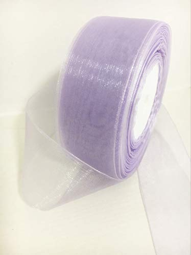 Autupy Lavender Organza Sheer Ribbon 1-1/2 inch for Floral & Craft Decoration, 50 Yard Roll
