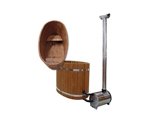 bambus-discount.com Badewanne aus Holz, mit Ofen und Sitzbänke, Set4 - für Holzbadefass Badefässer Badefass für draussen Badetonne Hot Tube