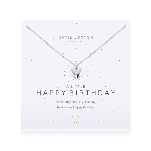 Katie Loxton A Little Happy Birthday Womens Silver Plated 18 inch Pendant Necklace