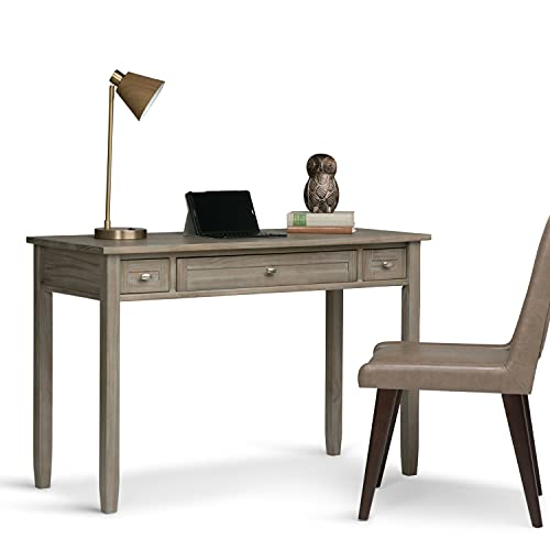 SIMPLIHOME Warm Shaker SOLID WOOD Rustic Modern 48 inch Wide Home Office Desk, Writing Table, Workstation, Study Table Furniture in Distressed Grey with 2 Drawerss