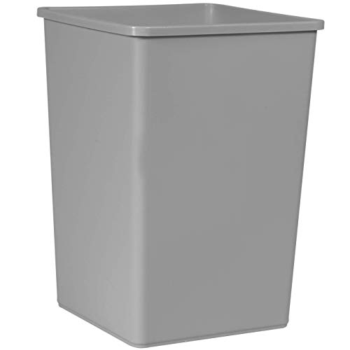 Rubbermaid Commercial Products 35-Gallon Untouchable Square Trash/Garbage Can for Offices/Stores/Restaurants, Gray (FG395800GRAY)