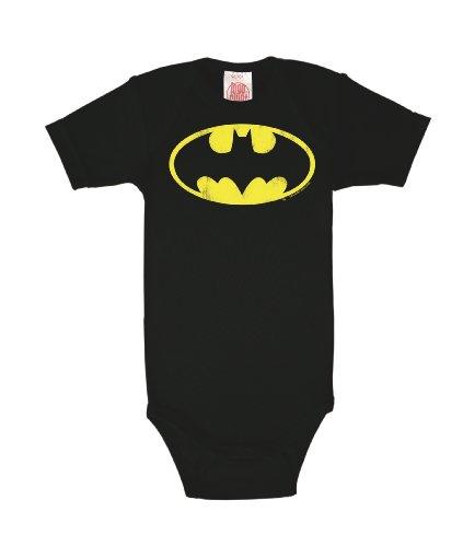 Logoshirt Body para bebé Batman Logotipo - DC Comics - Batman Logo - Pelele para bebé - Negro - Diseño Original con Licencia, Talla 62/68, 3-6 Meses