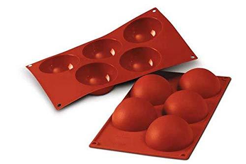 silikomart 20.001.00.0060 Stampo in Silicone per monoporzioni a semisfera cavità Ø 80 h 40 mm, Rosso, Volume: 5 x 120 ml Tot. 600 ml
