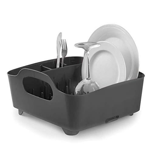 Qiutianchen Teller Abfluss Korb Korb Abflussgestell Haushaltsküche Besteck Tasse und Untertasse Lagergestell Lagergestell 37x33x16cm Küchenregal (Color : Black)