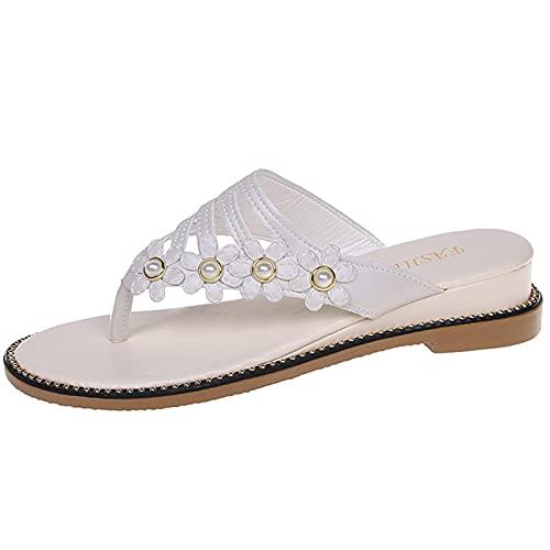 QQWD Sandalias De Vestir, Piel Sintética Suave Peep-Toe Zapatos De Playa Casuales...