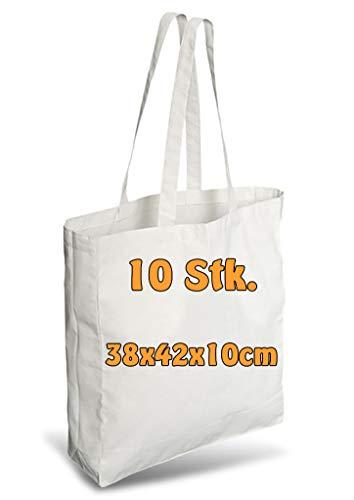 Cottonbagjoe Einkaufstasche | unbedruckt | Seiten-&Bodenfalte | Langen Henkeln | Jutebeutel (Weiß, 10 Stück)