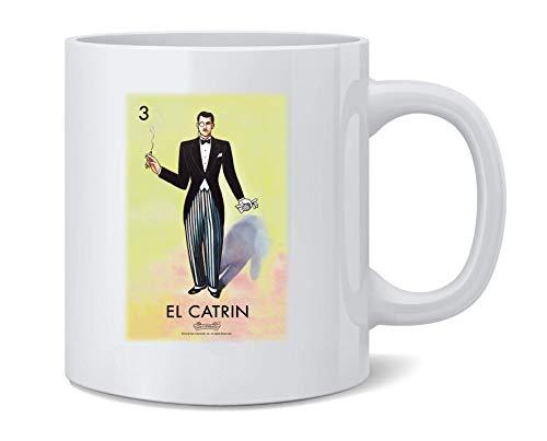 N\A El Catrin Dandy Loteria Card Bingo Mexicano Taza de café de cerámica Taza de té Regalo Divertido y novedoso 11 oz