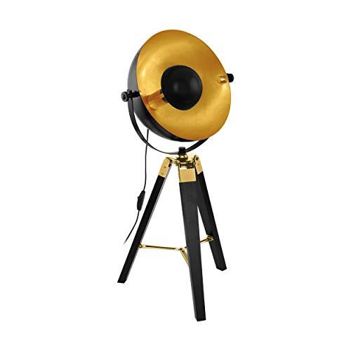 EGLO Tischlampe Covaleda, 1 flammige Tischleuchte Industrial, Vintage, Nachttischlampe aus Holz und Stahl, Wohnzimmerlampe in Schwarz, Gold und Messing, Lampe mit Schalter, E27 Fassung