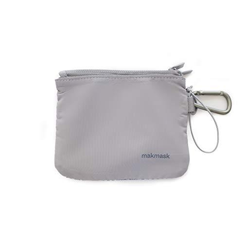 Makmask bag - Funda para Mascarillas - Color Gris - 14 x 11 cm - Doble Compartimento - 100% Poliéster - Guarda tu Mascarilla - Máxima Protección - Incluye Mosquetón Metálico - Fácil de Transportar