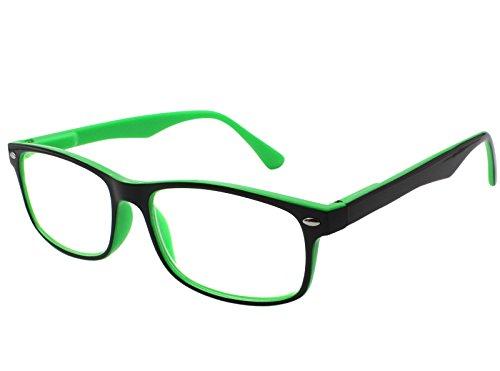 TBOC Gafas de Lectura Presbicia Vista Cansada – Graduadas +3.00 Dioptrías Montura de Pasta Bicolor Verde y Negra Diseño Moda para Hombre Mujer Unisex con Lentes de Aumento para Leer y Ver de Cerca