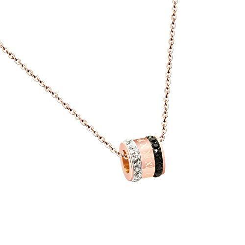 HEJIAO Mini Número Romano Cilíndrico Collar De Circón Blanco Y Negro Cadena De Clavícula Acero Inoxidable Material De Oro Rosa Oro Rosa 40 + 5Cm