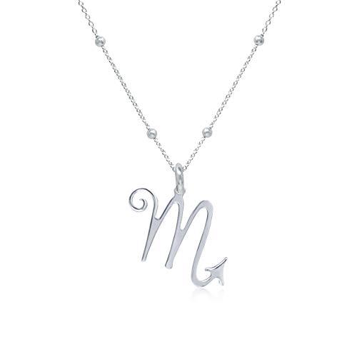WANDA PLATA- Collar Símbolos del Zodíaco Escorpio para Mujer Plata de Ley 925, Colgante Horóscopo, Astrología