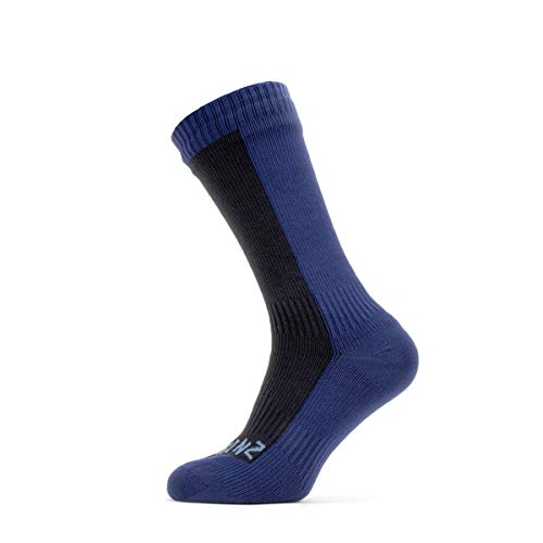 SealSkinz Unisex Waterproof Cold Weather Mid Length Sock, Black / Navy Blue, XL